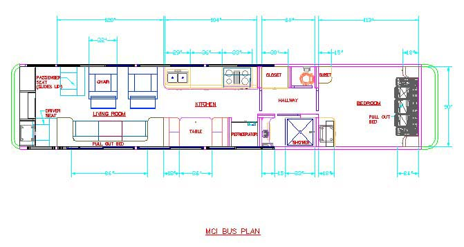 School Bus Conversion - Floor Plan